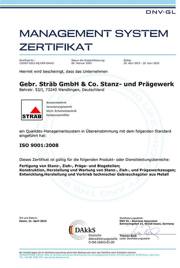 Zertifikat 9001:2008 der Firma Gebr. Sträb GmbH