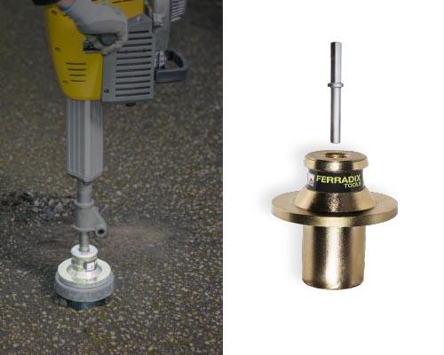 """Kompressorhammer mit Wurzelpfahl FERRADIX®, Einschlagwerkzeug mit Schlagbolzen (""""Stumpfmeisel"""")"""