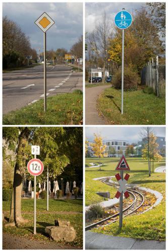 Verkehrszeichen im Erdboden